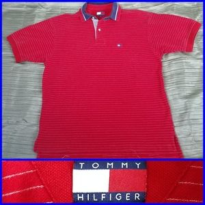 TOMMY HILFIGER Polo Shirt Red Men's sz S